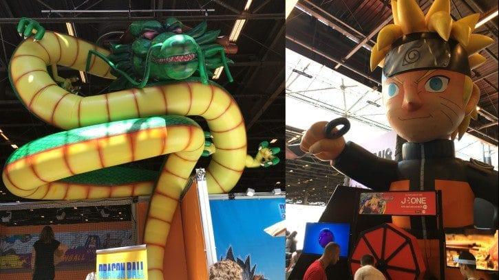 Glénat avec le dragon Shenron de Dragon Ball, et J-One et son Naruto géant gonflable.