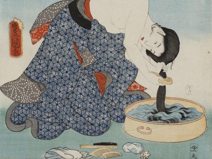 Cent belles femmes et sites célèbres d'Edo : Devant le sanctuaire Shibashinmei, Utagawa Toyokuni III, 1858