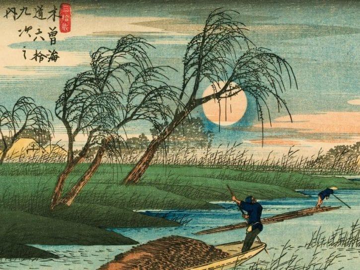 Utagawa Hiroshige (1797–1858), Les Soixante-neuf Relais de la route du Kisokaidô, Relais n°32. Seba