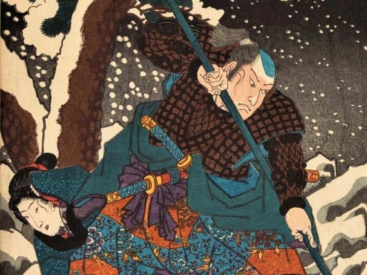 Utagawa Kuniyoshi (1797–1861), Les Soixante-neuf Relais de la route du Kisokaidô, Relais n°62. Samegai Kanai Tanigorô